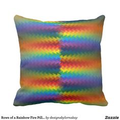 Rows of a Rainbow Fire Pillow