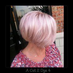 A Cut 2 Dye 4, Beavercreek, Ohio               Platinum blonde with pastel purple highlights.  Textured chin-length bob.