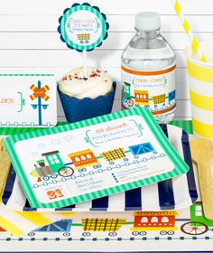 Train Birthday Party in a Box from SimplyGenie.com Get the crafty look you love with the convenience of a party in a box!