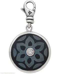 """Sterling Silver, Cubic Zirconia, Blackpen Shell. Engraved with """"Dream"""" on reverse."""