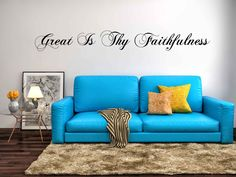 Great Is Thy Faithfulness Christian Vinyl Wall Decal Quote Scripture by MaddCaveDecals on Etsy