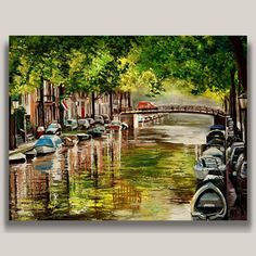 YARY DLUHOS Amsterdam Netherlands Canal Original IMPRESSIONISM Oil Painting #Impressionism
