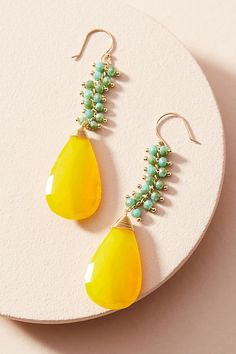 Baltic Drop Earrings. Yellow and green earrings for a feminine addition to your outfit. | Poplin Style Direction