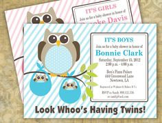 Owl Twins Baby Shower Invitation  A Printable by eloycedesigns, $10.00