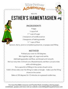 Esther's Hamentashen Bible recipe for kids. Printable Bible recipe sheet for children to learn more about the story of Purim. Hamentashen Recipe, Esther Bible Study, Purim Recipe, Lds Primary Lessons, Study Snacks, Bible School Crafts, Recipe Sheets, Bible Games, Christian Songs