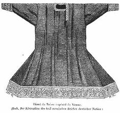 purple silk and red trim tunic of early 1100s