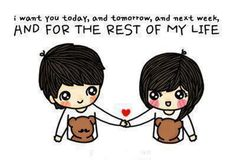 cute, cartoon, couple. I want you