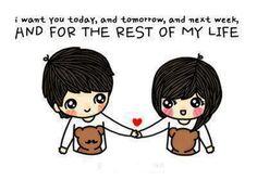 cute, cartoon, couple. I want you