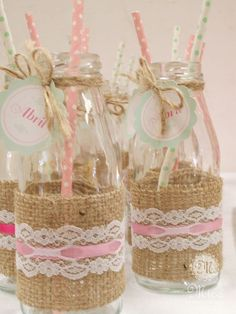 Milk bottles at a shabby chic birthday party! See more party planning ideas at CatchMyParty.com!