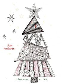 Zentangle Christmas Tree by Mariët - page is in English and Dutch. Christmas Colors, Christmas Art, Christmas Projects, Christmas Ideas, Zentangle Drawings, Doodles Zentangles, Doodle Patterns, Zentangle Patterns, Christmas Doodles