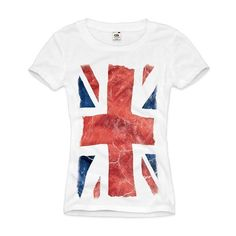 style3 Union Jack Womens T-Shirt Great Britain England London Flag... ($22) ❤ liked on Polyvore featuring tops, t-shirts, union jack t shirt, white t shirt, white top, union jack tee and union jack top