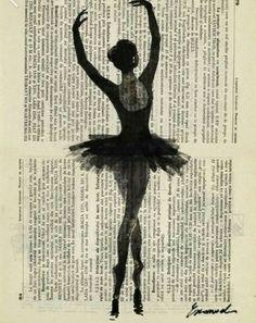 ballerina - ink drawing illustration buy prints on etsy Ballerina Drawing, Ballet Art, Ballet Dancer Tattoo, Ballerina Tattoo, Newspaper Art, Dance Pictures, Dance Photography, Canvas Art Prints, Art Inspo