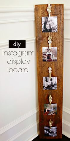 Scrap wood instagram display board,  you could hang this up anywhere and style the clothespins however you wanted.  Quick and easy project!