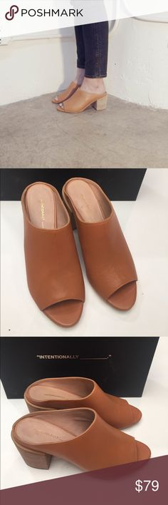 Intentionally Blank Filly Peep toe mule in tan. Comes with box. Shows some wear on bottoms and some scratches in leather on top. European size 37 Intentionally Blank Shoes Heels