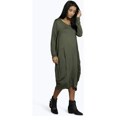Boohoo Matilda Oversized Slouch T-Shirt Dress ($26) ❤ liked on Polyvore featuring dresses, khaki, white cocktail dresses, oversized t shirt dress, day to night dresses, white camisole and special occasion dresses