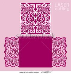 Laser cut wedding invitation card template vector. cut paper card with rose flowers. Cutout paper gate fold card for laser cutting or die cutting template. Wedding invitation mockup.