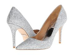 Badgley Mischka Kat Silver Glitter/Suede Shoes by shoes for me
