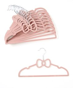 Light Pink Bow Hanger - Set of 10