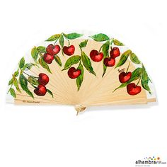 Elaborate hand-crafted fan made of beech wood. It is inspired in cherries. It has a cream leaf. Alhambravip only offers fans made in Spain. This fan comes with its box. Antique Fans, Vintage Fans, Hand Held Fan, Hand Fans, Cherry Baby, Cherry Season, Cherries Jubilee, Silk Art, Hot Flashes