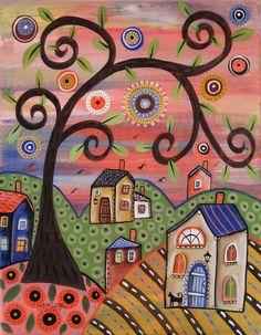 Wednesday 11x14 ORIGINAL CANVAS PAINTING houses cat birds FOLK ART Karla Gerard #FolkArtAbstractPrimitive