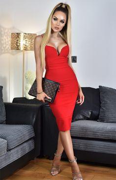7edc19e21b Divine Wear · Sukienki · Sukienka bandażowa ołówkowa midi czerwona