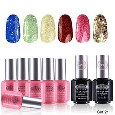 Perfect Summer New Colors Gel Nails Polishes French Manicure Starter Kit wit Clear Base Coat and Top Coat 8ml Nails Lacquers Varnish Sets UV Led Soak Off Set #21