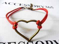 Red Hemp Ropes Bronze Love Sign Pendant Cuff Bracelet by braceletcool, $5.00