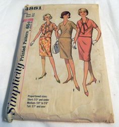 "1960s Pencil Skirt and Kimono Sleeve Top sewing pattern Simplicity 4881 Size 12 Bust 32"" by retroactivefuture on Etsy"