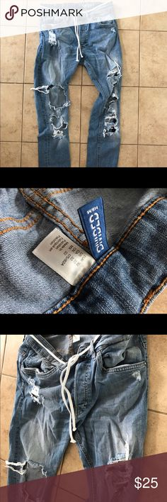 HM Custom Distressed Denim I purchased these and tweaked the distressing throughout the denim. Jeans Skinny