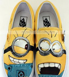 #Minions Shoes Minions Slip-on Painted Canvas Shoes,Slip-on Painted Canvas Shoes