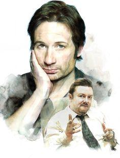 David Duchovny & Ricky Gervais by Berto Martinez