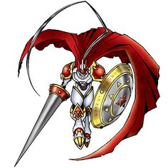 """Gallantmon/Dukemon - Mega level Holy Knight digimon; equipped with the holy lance """"Gram"""" and the holy shield """"Aegis"""""""