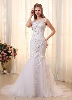 In Stock Chic Tulle Jewel Neckline Mermaid Wedding Dresses with Handmade Flowers US 4
