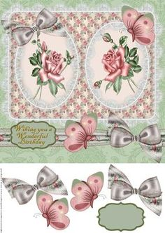 Classic Roses Birthday on Craftsuprint designed by Marijke Kok - Elegang design with roses and a lovely bow.for a wonderful birthday! - Now available for download!