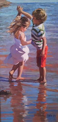 I love this and would like to get a print of it. Artist Painting, Painting People, Figure Painting, Painting & Drawing, Beach Paintings, Dance Paintings, Beautiful Paintings, Children Dancing, Art Children