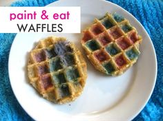 Easter Waffles - egg shaped cookie cutters, add food coloring to milk and paint on.