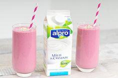 Een ontbijtsmoothie, heerlijk! Het is een goed begin van je dag. Weer eens wat anders dan een bruine boterham. Snel gemaakt en makkelijk weg te drinken. Voor deze ontbijtsmoothie maken we gebruik van plantaardige yoghurtvariatie. Je kunt het gebruiken als yoghurt maar het is geen yoghurt. Alpro heeft dit product sinds kort op de markt... Overnight Oats, Glass Of Milk, Healthy Recipes, Healthy Food, Alcohol, Gluten Free, Tasty, Juices, Yoghurt