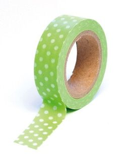 Washi Tape Trendy Tape  Green Polka Dot Decorative by swigshoppe, $2.99