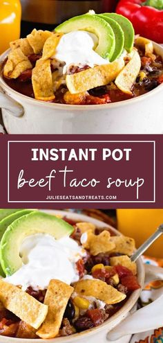 This quick and easy Instant Pot Beef Taco Soup is such a hit and perfect for a quick dinner during the winter. It makes a big batch so you have plenty of leftovers for lunch during the week. Easy Holiday Recipes, Instant Pot Dinner Recipes, Easy Soup Recipes, Instant Pot Pressure Cooker, Pressure Cooker Recipes, Slow Cooker, Easy Homemade Soups, Taco Soup, Healthy Soup
