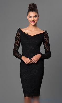 Black Lace Long-Sleeve Off-Shoulder Marina Dress Shop long sleeve black lace off shoulder dresses by Marina at SimplyDresses. Knee length scalloped neckline cocktail dresses for holiday celebrations. Black Off Shoulder Dress, Off Shoulder Dresses, Little Black Lace Dress, Short Lace Dress, Dress Lace, Black Lace Dresses, Dress Shoes, Shoes Heels, Trendy Dresses