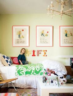 Love the prints.  Totally my style kids room! Madeline Weinrib Blue Mu Ikat Pillows.