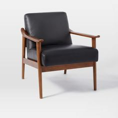 Midcentury Show Wood Leather Chair, Nero/Pecan. As replacement living room chair.