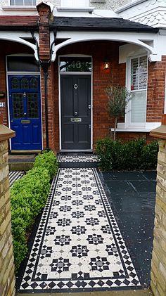 mosaic garden paths design | classic victorian black and white mosaic tile path london