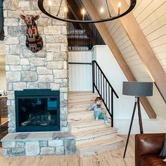 ChrislovesJulia Idaho cabin with Oak Aspeland staircase and stair nosings. A Frame Cabin, A Frame House, White String Lights, Lakefront Property, Log Cabin Homes, Wide Plank, Interior Lighting, The Great Outdoors, Tiny House