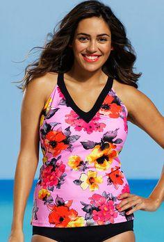 Shore Club Plus Size Blossom V Neck Tankini Top