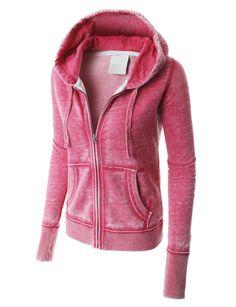 LE3NO PREMIUM Womens Lightweight Soft Fleece Burnout Zip Up Hoodie Jacket