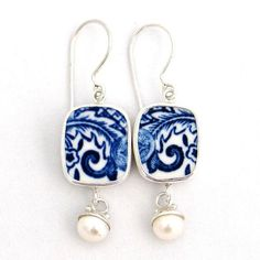 Broken China Jewelry Blue Willow Sterling