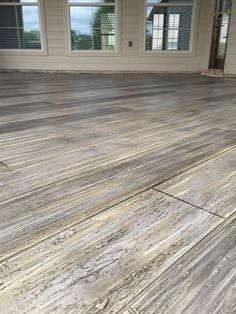 Learn how to make concrete look like wood! We have helped thousands of contractors and do it yourselfers make their concrete look like wood. Concrete Wood Floor, Outdoor Concrete Stain, Wood Stamped Concrete, Concrete Patio Designs, Concrete Porch, Painted Concrete Floors, Painting Concrete, Concrete Overlay, Cement Floors