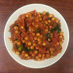 Spanish stewed chickpeas with kale.