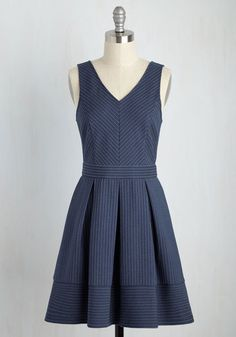 Moments after the host welcomes you in, a hush overcomes the party in admiration of your pleated dress! This stretch knit design dazzles minglers with its denim-like blue hue. Meanwhile, this frock